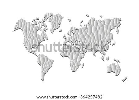 World Map polygonal low poly precision gray - stock photo