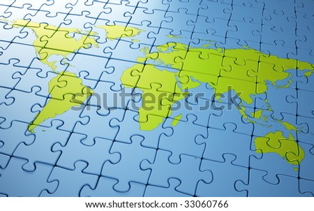 World map puzzle - stock photo