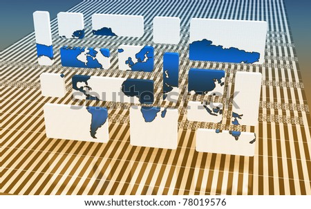 World map puzzle - stock photo