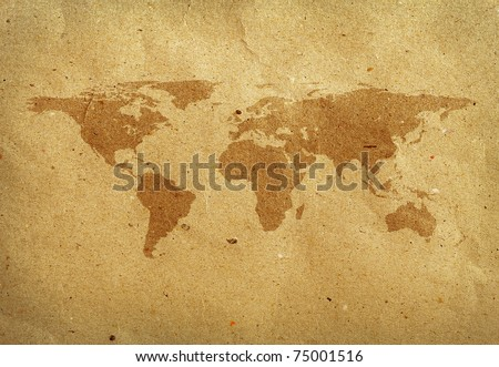 world map screen on recycled paper . Data source: NASA - stock photo