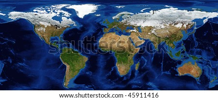 World Map - Shaded Relief with Bathymetry and snow cover in Winter Data Source: NASA - stock photo