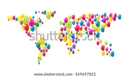 World map shape made of colorful hands - stock photo