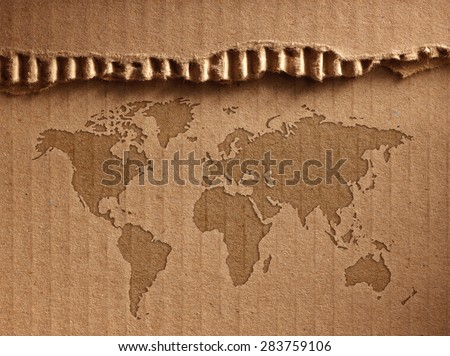 World map shows the corrugated cardboard.Close up - stock photo