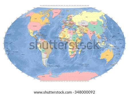 World Map Sphere - Countries - Ocean Background - Gray Grids - stock photo