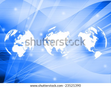 world map technology style - stock photo