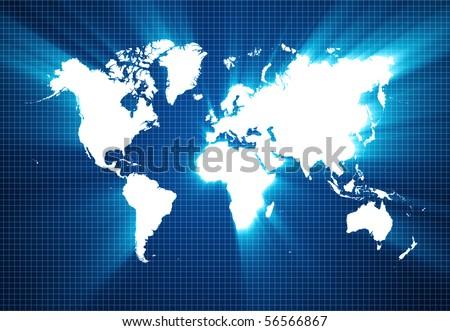 World map technology-style - stock photo