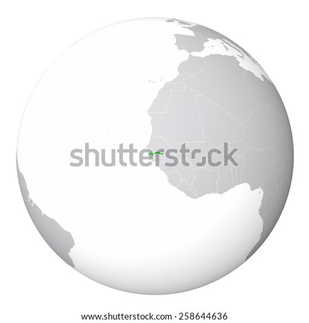 World Map - The Gambia - stock photo