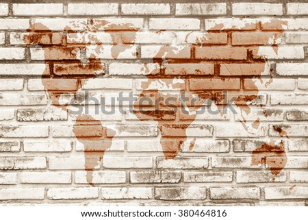 World map vintage pattern for Black and white brick wall texture background / Wall texture background flooring interior rock stone old pattern clean concrete grid uneven bricks design stack. - stock photo