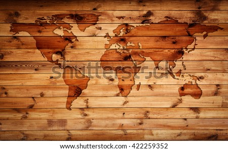 World map vintage pattern for wood background. Elements of this Image Furnished by NASA. - stock photo