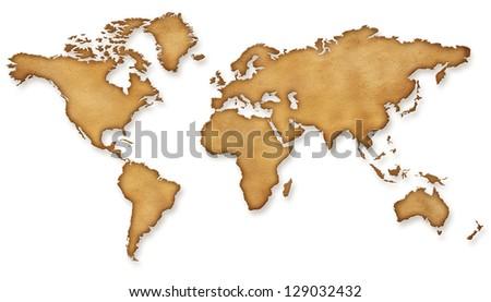 World Map Vintage sepia Illustration - stock photo