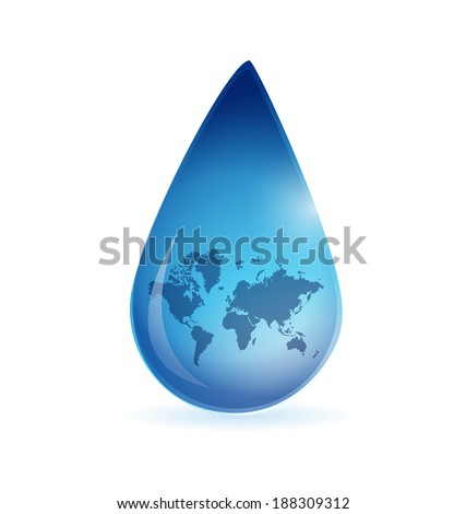 world map water drop illustration design over a white background - stock photo