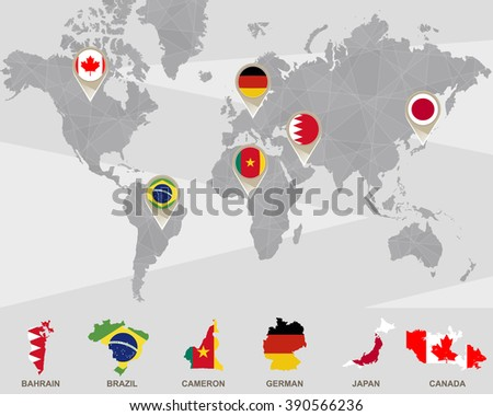 World map georgia romania spain germany vectores en stock 259952567 world map with bahrain brazil cameron german japan canada pointers gumiabroncs Images