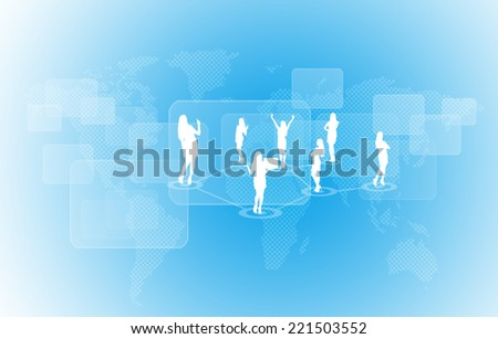 World map with businesswoman silhouettes. Blue gradient background