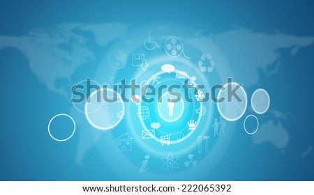 World map with circles and icons. Blue background - stock photo
