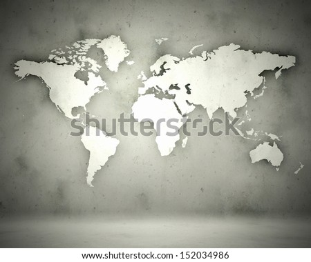 World map with continents bright illustration background - stock photo