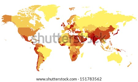 World map with countries in warm colors.