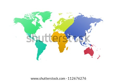 World map with each continent of the world - stock photo