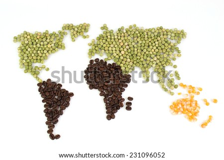 World map with food  - stock photo