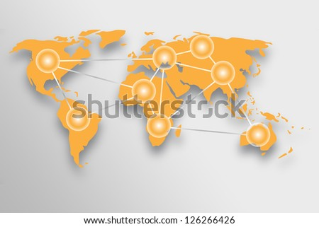 World map with global connection concept. - stock photo