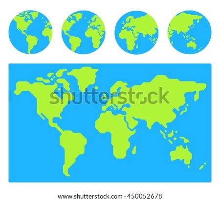 World map 4 globe icons different stock illustration 450052678 world map with 4 globe icons from different sides stylized geometric flat illustration gumiabroncs Gallery