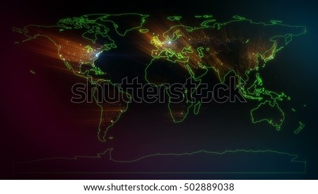 World map green edging on black stock illustration 502889038 world map with green edging on a black background world cities on map night gumiabroncs Images