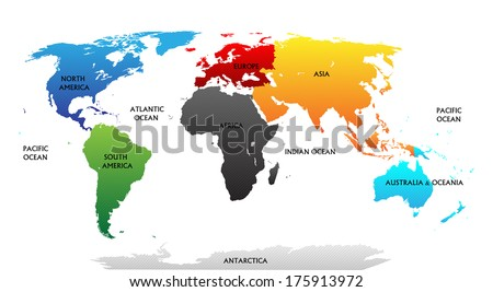 World map with highlighted continents in different colors. All labels are in the separate layer.Raster copy.