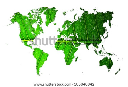 world map with leaf texture