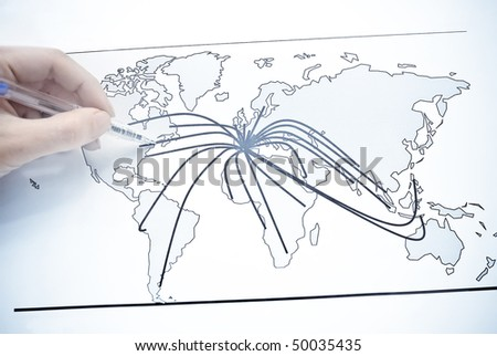 World map with lines between the world's cities