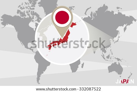 World map with magnified Japan. Japan flag and map. Rasterized Copy. - stock photo