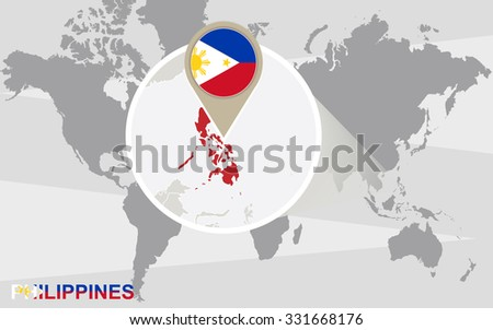 World map with magnified Philippines. Philippines flag and map. Rasterized Copy. - stock photo