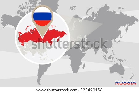 World map with magnified Russia. Russia flag and map. Rasterized Copy. - stock photo