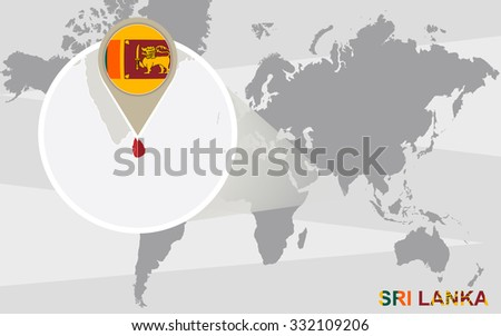 World map with magnified Sri Lanka. Sri Lanka flag and map. Rasterized Copy. - stock photo