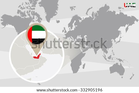World map with magnified United Arab Emirates. UAE flag and map. Rasterized Copy. - stock photo