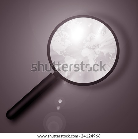 world map with magnifying glass