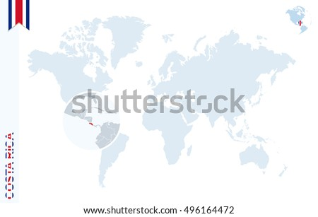 World map magnifying on costa rica stock illustration 496164472 world map with magnifying on costa rica blue earth globe with costa rica flag pin gumiabroncs Image collections