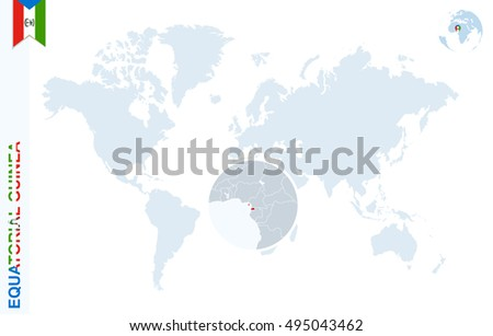 World map magnifying on equatorial guinea stock illustration world map with magnifying on equatorial guinea blue earth globe with equatorial guinea flag pin gumiabroncs Images