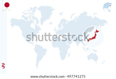World Map Magnifying On Japan Blue Stock Illustration - Japan map in world map