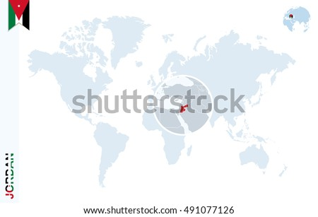 World map magnifying on united arab vectores en stock 419879548 world map with magnifying on jordan blue earth globe with jordan flag pin zoom gumiabroncs Choice Image