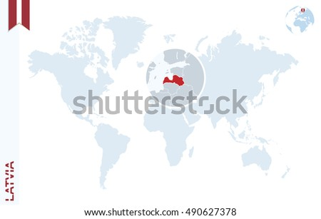 World map magnifying on latvia blue stock illustration 490627378 world map with magnifying on latvia blue earth globe with latvia flag pin zoom gumiabroncs Images