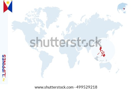 World map magnifying on philippines blue stock illustration world map with magnifying on philippines blue earth globe with philippines flag pin zoom gumiabroncs