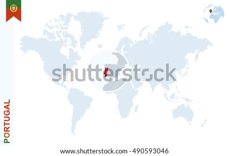 World Map Magnifying On Portugal Blue Stock Vector - Where is portugal in the world