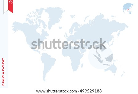 World Map With Magnifying On Singapore. Blue Earth Globe With Singapore  Flag Pin. Zoom