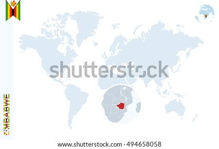 World map magnifying on zimbabwe blue stock illustration 494658058 world map with magnifying on zimbabwe blue earth globe with zimbabwe flag pin zoom gumiabroncs Image collections