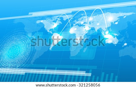 World map with molecule on abstract blue background