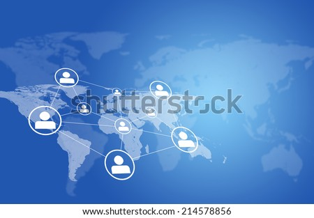 World map with network and people icons - stock photo