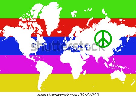 World map peace logo stock illustration 39656299 shutterstock world map with peace logo publicscrutiny Image collections