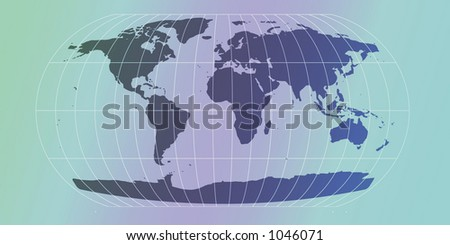 world map with retro feel in violet and blue - stock photo