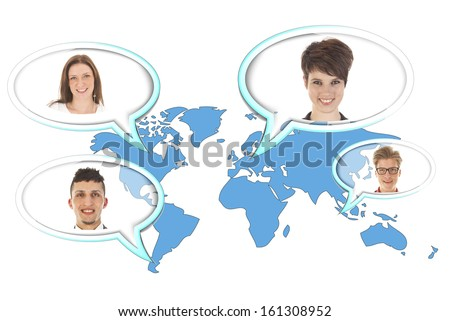 World map with several balloons with persons isolated on white background - stock photo