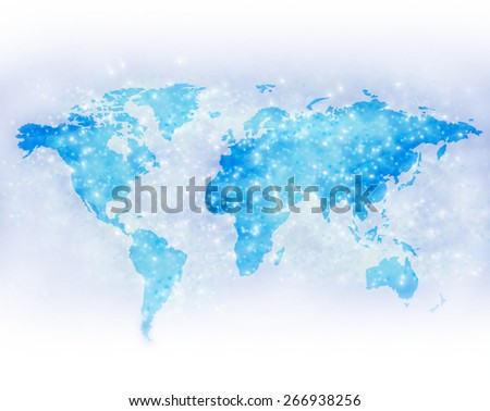 World map with shining spots - stock photo