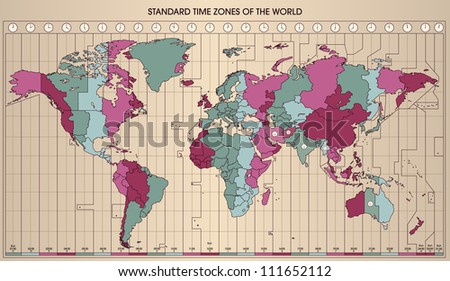 World Map with Standard Time Zones. Cartography collection. Colorful Illustration. - stock photo